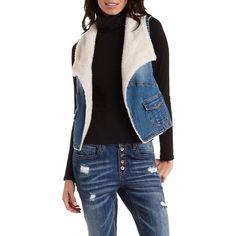 Charlotte Russe Lt Wash Denim Faux Shearling & Denim Vest by Charlotte... ($30) ❤ liked on Polyvore featuring outerwear, vests, lt wash denim, lapel vest, faux shearling vest, blue denim vest, vest waistcoat and sherpa vest