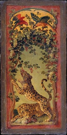 panthers of bacchus eating grapes. oil painting on cardboard - study by alexandre françois desportes for a panel of a folding savonnerie tapestry screen, or paravent, which was first woven at the chaillot workshops in Paris in 1719.