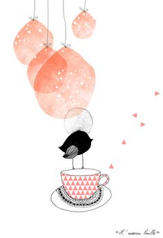 illustration 'L'oiseau bulle' by My Lovely Thing ° Illustration Inspiration, Illustration Design Graphique, Art Et Illustration, Inspiration Art, Grafik Design, Art Design, Painting & Drawing, Illustrations Posters, Illustrators