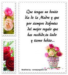 mensajes de texto para el dia de la Madre,palabras para el dia de la Madre: http://www.consejosgratis.net/mensajes-por-el-dia-de-la-madre-para-mama-primeriza/