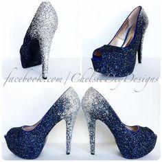 15cab33dcc Navy Blue Peep Toe Glitter Pumps, Something Blue Ombre Wedding High Heels