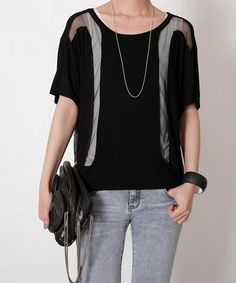 Lora Grenadine Insert Jersey Tee- Black SALE $35.00 http://www.helloparry.com/collections/top/products/lora-grenadine-insert-jersey-tee-black