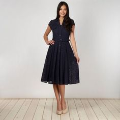 Shirt dress / J by Jasper Conran Designer navy broderie shirt dress- at Debenhams Mobile