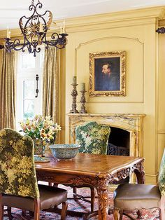 Courting Romance: Great idea for the chairs. Fabric on top, Leather on the seat.  My husband would love the table with all the intricate carving.