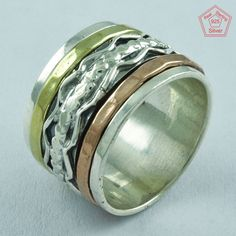 ABSTRACT 925 STERLING SILVER,BRASS,COOPER SPINNER RING,R4999 #SilvexImagesIndiaPvtLtd #Spinner #AllOccasions