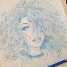 This mornings #curlyhair #pencil #sketching dook...if you havent checked it out please take a look at my #kickstarter. Link in my bio. And share it if youd like to support it! Much appreciated and keep on keepin on! by melmadedooks