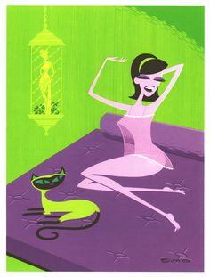 Cool serigraph print by Shag Josh Agle: THE RAIN LAMP
