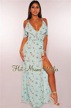 91966b7a23 Sky Blue Floral Off Shoulder Ruffle Belted Slit Maxi Dress