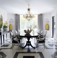 Interior designer extraordinaire Mary McDonald hit another home run with this bold yet classical dining room. From the painted floors t. Elegant Living Room, Elegant Dining, Modern Living, Floor Design, House Design, Mary Mcdonald, Painted Wood Floors, Hardwood Floors, Wooden Flooring