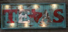 Lighted Rustic Handmade TEXAS Wood Sign  www.gugonline.com