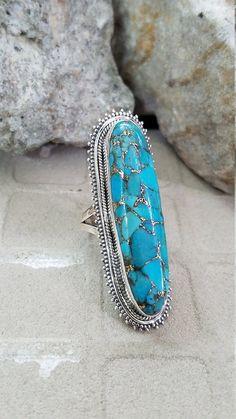 04092da86668 Anillo de cobre azul turquesa plata de ley 925 anillo largo