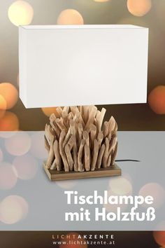"""Die Tischleuchte mit Holzfuß und eckigen Lampenschirm findest du bei Lichtakzente.at. Die eckige Tischlechte """"Snell"""" in Weiß trägt zur gemütlichen Beleuchtung im Esszimmer, Wohnzimmer, Schlafzimmer, Flur oder in einem Hotelzimmer bei. Lampe Tisch, Tischleuchte aus Treibholz // #leuchte #wohnen #beleuchtung #licht #interiordesign #lampen und leuchten #lichtakzente Interiordesign, Lighting, Home Decor, Bedroom Lamps, Living Room Table Lamps, Modern Light Fixtures, Decoration Home, Light Fixtures, Room Decor"""