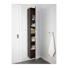 GODMORGON High cabinet with mirror door - black-brown - IKEA