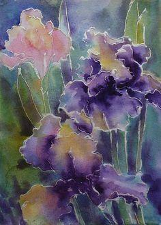 Love the color & shading! Alcohol Ink Crafts, Alcohol Ink Painting, Alcohol Ink Art, Silk Painting, Watercolour Painting, Watercolor Cards, Watercolor Flowers, Floral Artwork, Silk Art