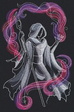 Enter a mystical world, where painterly stitches shed light onto this magical mage. Stitch these wonders on apparel, accessories, decor, and more!