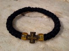 Orthodox wool russian/greek handmade chotki, komboskini, prayer rope, rosary, black, bracelet blessed