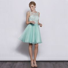 Lace top with chiffon a-line skirt elegant bridesmaid dress.