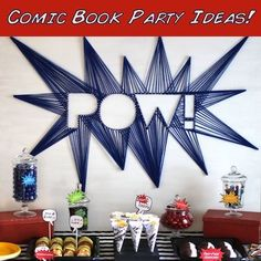 Our #diy string art backdrop make this #superhero #comicbook #party table pop!