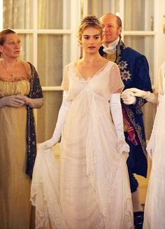 Lily James in 'War and Peace' Lily James, Period Costumes, Movie Costumes, War And Peace Bbc, Regency Dress, Regency Era, Romance, Princess Aesthetic, Bridesmaid Dresses