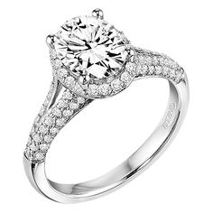 ArtCarved - 31-V327GVW Ariel Diamond engagement ring with oval shaped center stone surrounded by round diamonds and a pave diamond enhanced band.