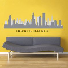 """CHICAGO ILLINOILS Skyline Wall Vinyl Decal Removable Decal 50"""" x 15"""" Living Room Office Decor City Decals on Etsy, $24.99"""