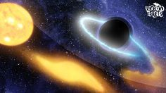 An artist's concept shows a black hole eating material from a nearby star. Researchers say its possible dark matter swirling around a black hole could radiate gamma rays that could be seen by telescopes. Cosmos, Dark Matter, Stephen Hawking, Black Holes In Space, Solar Mass, Sagittarius A, Space Planets, To Infinity And Beyond, Interstellar