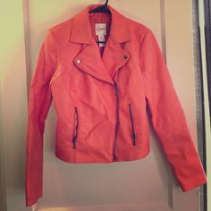 Moto Jacket Bright coral colored jacket. Never worn, no tags. Candie's Jackets & Coats
