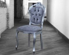 Modern Hand Carved Shabby Chic French Boutique Bedroom Side Chair In Grey Velvet