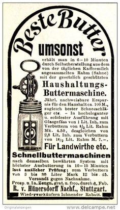 Original-Werbung/ Anzeige 1896 - HAUSHALTUNGS- BUTTERMASCHINE/ VON HÜNERSDORFF NACHF. STUTTGART - ca. 45 x 80 mm