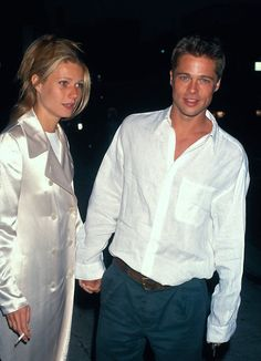 Gwyneth Paltrow and Brad Pitt, 1995 | Gwens coat!!! pinterest: geminoir
