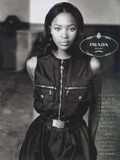 Lovely young Naomi Campbell in a Prada ad