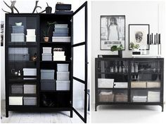 cool Black Glass Cabins Read More by scandiland. Living Room Inspiration, Furniture Inspiration, Interior Inspiration, Style At Home, Pretty Things, Glass Cabinet Doors, Glass Cabinets, Interior Decorating, Interior Design