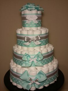 Boy diaper cake my mom does these all the time!