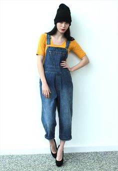c8075d534ea Vintage 1980 s Medium Wash Blue Long Denim Dungarees - Love the dungarees