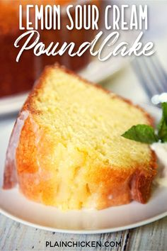 Lemon Sour Cream Pound Cake - the most AMAZING pound cake I've ever eaten! So easy and delicious! Top the cake with a lemon glaze for more yummy lemon flavor. Serve the cake with whipped cream, mint and fresh berries. I took this to a party and everyone a Lemon Desserts, Lemon Recipes, Just Desserts, Baking Recipes, Sweet Recipes, Dessert Recipes, Sour Cream Desserts, Southern Desserts, Gourmet Desserts