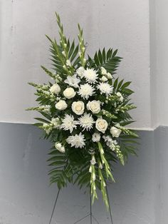 Use Orange Roses&Green Football Mums/White Glads&Bells Of Ireland. Place at Foot Of Casket. Funeral Floral Arrangements, Beautiful Flower Arrangements, Beautiful Flowers, Casket Flowers, Funeral Flowers, Wedding Flowers, Mum Bouquet, Football Mums, Funeral Sprays