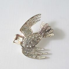 Pave Rhinestone Peace Dove Brooch Silver Tone Vintage Signed Roman.