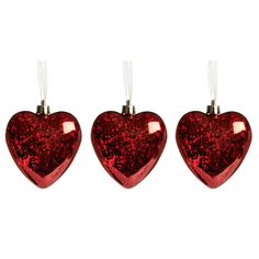 Wilko Christmas Tree Decorations Hearts Antique Effect 3pk Festive Forest £1