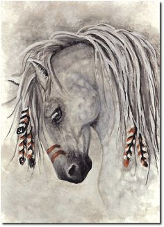 reminds me of my friend - Majestic Mustang Western Native War Paint Dapple Grey Horse - Print by AmyLyn Bihrle Dapple Grey Horses, Appaloosa Horses, Native American Horses, Native American Drawing, American Indians, Indian Horses, Horse Artwork, Painted Pony, Feather Painting