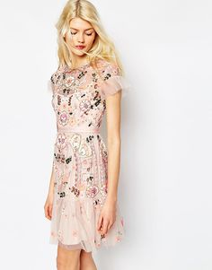 Needle+&+Thread+Floral+Tiered+Embellished+Dress