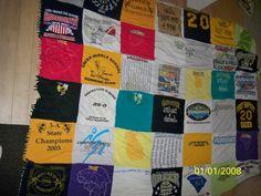 High School Sport T-shirt quilt. https://www.facebook.com/pages/Custom-T-shirt-Quilts-by-Raye-Lin/164548903576445