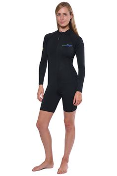 6c4c96b7585911 Women UV Protection Sunsuit Bodysuit Long Sleeves UPF50+ Black (Chlorine  Resistant) - EcoStinger Full