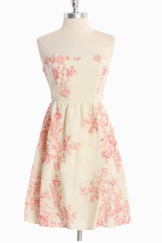 Sweet Romance Embroidered Dress: Rouche