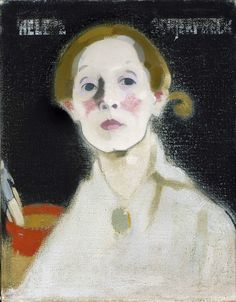 Helene Schjerfbeck (1862-1946). Self-portrait with Black Background (1915)