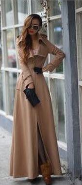 Pure Color Turn Down Collar Long Sleeve Maxi Coat Capital Class Look Fashion, Hijab Fashion, Winter Fashion, Fashion Outfits, Womens Fashion, Trendy Fashion, Fashion Coat, Pastel Outfit, Maxi Coat