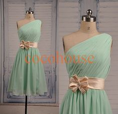 Hey, I found this really awesome Etsy listing at https://www.etsy.com/listing/194901517/short-one-shoulder-mint-bridesmaid