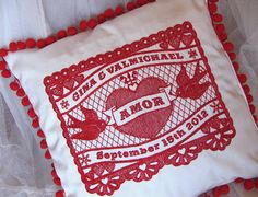 Customized Mexicana Amor Embroidered Wedding Pillow
