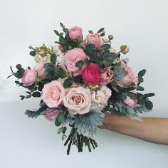 pink bridal bouquet  pale pink, hot pink, green  roses, ranunculus, stock, tulips, dusty miller  #campusfloral