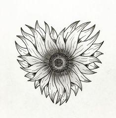 Best Tattoo Sunflower Heart Ideas - - My list of the most creative tattoo models Sunflower Tattoo Simple, Sunflower Tattoo Shoulder, Sunflower Hearts, Sunflower Tattoos, Sunflower Tattoo Design, Sun Tattoo Small, Small Tattoos, Cool Tattoos, Tatoos