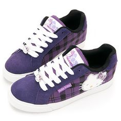 Sanrio Hello Kitty Lady's Casual Plaid Sneakers Shoes Red, Purple, Black-Peach | eBay --I want these in my size!!